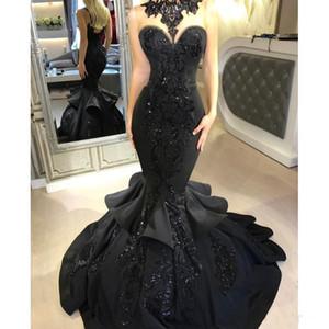Dubai Arapça Siyah Mermaid Gelinlik 2018 Boncuk Payetli Ruffles Kat Uzunluk Dantel Aplike Örgün Elbiseler Abiye PROM ELBISE Giymek