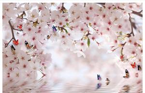 Sob encomenda da foto papel de parede 3d estéreo original fantasy cherry blossom butterfly reflexão tv fundo pintura de parede personalidade mural da parede w
