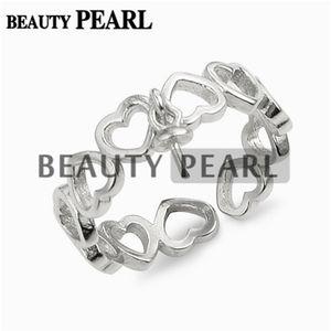 Девушки ювелирные изделия Сердце Вечная любовь кольцо Semi Маунт мотаться Pearl 925 Sterling Silver Установка 5 шт