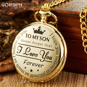 Gold Vintage To My Son Quartz Pocket Watch Fob Chains I LOVE YOU Necklace Pendant Steampunk Children Kids Watches Gifts