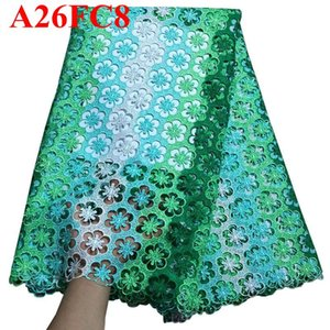 Yeşil işlemeli yüksek kaliteli gipür Dantel nijeryalı dantel kumaşlar suda çözünür afrika dantel kumaş gelinlik UU001 için