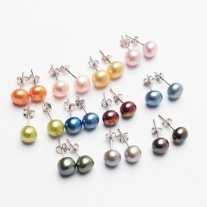 Perlas hechas a mano en plata de ley S925 7-8mm botón perlas pendientes 11 colores para elegir colorido perlas pendientes pendientes