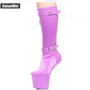 النساء الركبة أحذية عالية voilet 20 سنتيمتر المتطرفة عالية الكعب heelless لا كعب المهر منصة الأزياء مثير صنم قابل البريدي البريدي التمهيد الرجال الرقص الأحذية