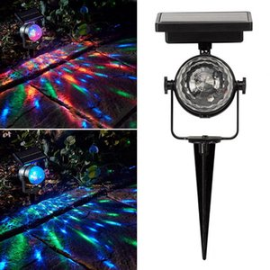 Solar Projection Lamp Rotatable Colorful Lawn Solar Powered mini Crytsal Magic Ball Stage Light for Outdoor Christmas Party