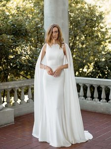 Graceful White Mermaid Evening Dresses with Wrap Jewel Neck Sleeveless Formal Gown Chiffon Sweep Tran Prom Gowns