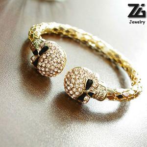 ZG Unisexe Cool Punk Rock Gothique Squelette Crâne Main Gant Chaîne Lien Bracelet Bracelet En Cuir Bracelet