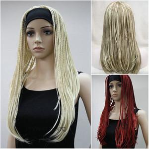 Señoras peluca trenzas pelucas 3/4 media peluca de la venda de lujo de Cosplay del partido peluca + casquillo de la peluca