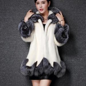 Wipalo Plus Size Cappotto da donna Cappotto di visone con cappuccio aderente a lunga vestibilità In pelliccia sintetica con cappuccio Giacca in pelliccia sintetica nera sottile bianca S-3XL