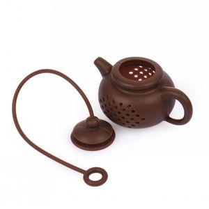 Bolsa de té de silicona de categoría alimenticia creativa Filtro de té de forma de olla Limpieza de forma segura Infuser Colador de café reutilizable Accesorios de fuga de té