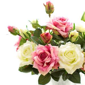 Halloween Navidad 2 cabezas Artificial Real Touch Rose Flowers Decoración Fresh Rose Latex Roses para la decoración del ramo de la boda