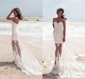 Ilusão Bodice Beach Vestidos De Noiva 2018 Doce Coração Apliques Sweep Trem Longo Jardim Romântico País País De Vestidos De Noiva abiti da sposa