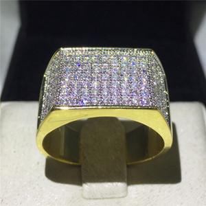 Anello Vecalon Punk Hiphop Rock per uomo Pave setting 119pcs 5A Zircon cz Oro giallo Filled 925 argento maschio Party Band rings