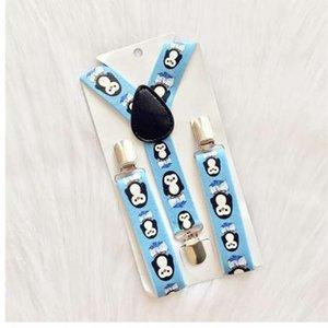 Nuevos Niños Lovely Blue Penguin Suspenders Baby Boys Tirantes Clip-on Y-Back Tirantes Elásticos Kids Suspenders Nuevo