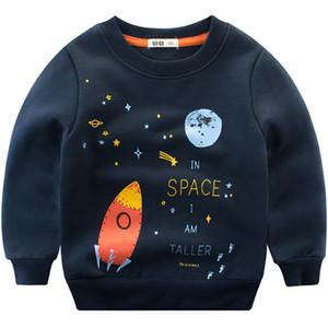 Pamuk Tişörtü Erkek Kız Sevimli Eğlenceli Uzay Tasarımcı Bluz Çocuklar Hoodies Çocuk Kazak Üstleri Sonbahar Kış Bebek Giyim Y18102507