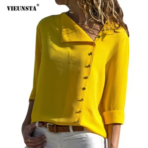 VIEUNSTA 10 Colori Side Button Camicette Irregular Camicie 2018 Women Long Sleeve Streetwear Camicette Skew Collar Top Blusa Feminina