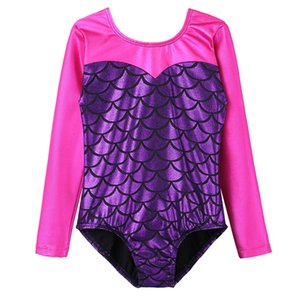 BAOHULU Girls Purple Sirena Balletto Body ginnastica maniche lunghe Dance Dress Body Kids Balletto Acrobazie Girls Dance wear