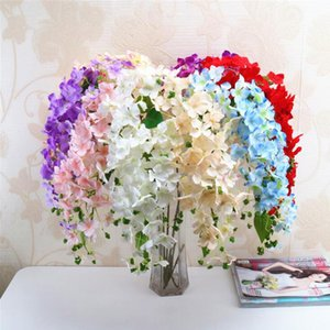 Di seta del Hydrangea gambo lungo Cascata Hydrangea simulato Ortensie con schiuma di frutta per il matrimonio centrotavola decorativo 8 colori