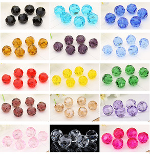 6mm Ball Faceted Glass Crystal Spacer Austria Section Crystal Glass Beads Loose Spacer Round Beads For Jewelry Making 17Colors