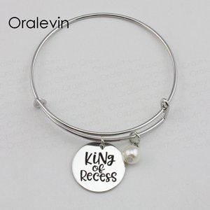 KING OF RECESS Inspirational Hand Stamped Charm pendentif fil extensible Bracelet Bracelet en métal couleur argent bijoux, 10 Pcs / lot, # LN2214B