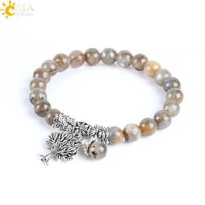 CSJA Natural Labradorite Spectrolite Donna Bracciali Braccialetti Gemstone Mala Beads Albero della vita Fascino Reiki Healing Meditazione Gioielli E742
