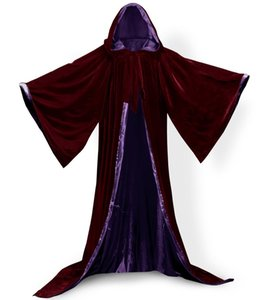 Long Sleeves Velvet Hooded Cloak Wedding CapeHooded Velvet Cloak Halloween Party Witchcraft Cape Medieval Wicca Robe Kids Cosplay dress cost