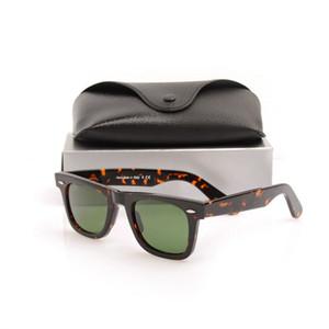 Nueva alta calidad para mujer Gafas de sol Gafas de tabla Gafas de sol con montura de carey Lente de vidrio Lentes verdes Gafas de playa para hombre gafas de sol glitter2009