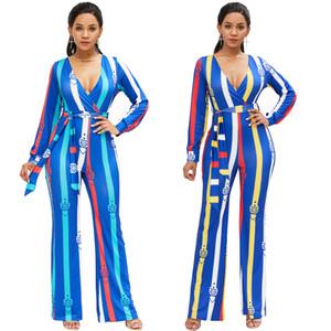 Novo 2018 Inverno das Mulheres Bodycon Sexy Impressão Digital Macacão Macacão Clubwear Jovem Playsuit Bandage Longo-luva