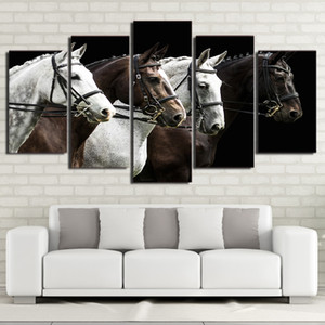 HD Print Painting 5 Pieces Black and Brown Horse Race Poster Modular Wall Art Picture Living Room No Frame Home Decor