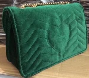 2018 Nuevo Diseño Clásico Caliente de Las Mujeres Bolsos de Terciopelo de la Franja de Hombro Bolsa de Cadena de Oro de Cuatro Colores Tamaño 25 CM con envío gratis