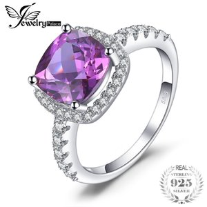 JewelryPalace Luxury 5.35ct Cushion Cut Created Alexandrite Sapphire Wedding Engagement Rings 925 Sterling Silver Fine Jewelry Y18102610