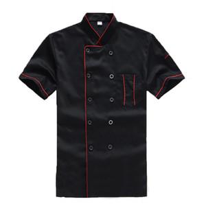 Livraison gratuite New haute qualité Noir Restaurant Hôtel Chef de Veste manches courtes Costume cuisinier Homme Femme Travail Porter Services alimentaires Manteau Uniforme