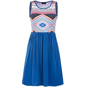 Sweet Patchwork Vest Dress National Printed Dress 2018 femmes été col rond Floral Stitching Nouvelle mode