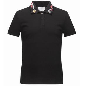 Bahar Lüks İtalya Tee Tişört Tasarımcı Polo Gömlek High Street Nakış Jartiyer yılan küçük arı Baskı Giyim Erkek Marka Tişört