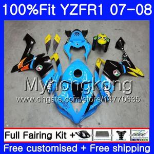 Corpo iniezione per YAMAHA YZF R 1 YZF 1000 YZFR1 07 08 227HM.20 YZF R1 07 08 YZF1000 YZF-1000 YZF-R1 Squalo ciano magazzino 2007 Kit carenatura 2008