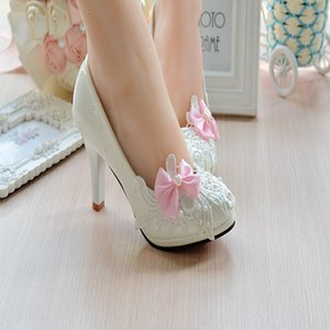Butterfly-Knot Patent Leather Women Pump Wedding Shoes Fashion White Heels 4.5Cm 8Cm High Heels Prom Party Shoes