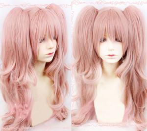 Danganronpa Junko Enoshima cosplay coda di cavallo parrucca sintetica dei capelli + orso Forcine