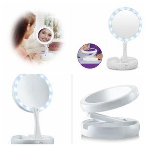 My Fold Away Makyaj LED Ayna 360 Derece Rotasyon Dokunmatik Ekran Makyaj Kozmetik Katlanır Taşınabilir Kompakt Cep Aynalar 20 adet OOA4921
