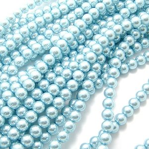 ONE STRAND LAKE BLUE Glass Pearl Round Spacer Loose Beads FIT FOR BRACELET NECKLACE 4mm 6mm 8mm 10mm