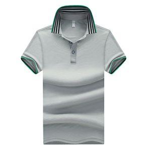 Hombres de punto de verano con rayas en el cuello Camisas casuales Camisa de algodón de manga corta con cuello caído Hombre
