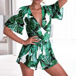 Liva girl Été 2018 Femmes Barboteuses Imprimer Banana Leaf Print Beach Combinaison Court Vert Combinaison Femme À Manches Courtes LW-8055