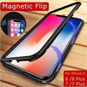 Manyetik Adsorpsiyon Tam Kapsama Temperli Cam ile Cep Telefonu Kılıfı Metal Alaşım Çerçeve Geri Ultra-İnce Kapak için iPhone X XS MAX 8 7 6 Artı