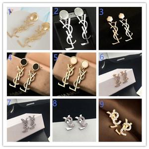 2018 hot women'sbrand rhinestone letters earrings women's designer earrings gift party brand jewelry accessories A50