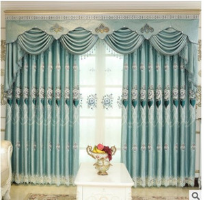 European veneer Jacquard embroidered curtains living room floor balcony finished Curtain wholesale