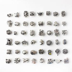 48pcs Смешанные Стиль Оптовые шарики сплава Подвески для Pandora DIY ювелирных изделий европейских браслеты браслеты Женщины девочек Лучшие подарки