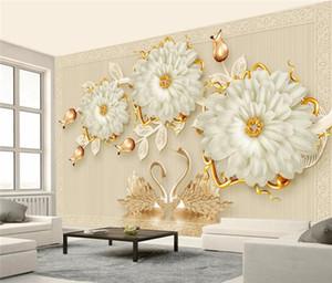 3d Luxuxschmucksachen Blume Swan Romantische TV-Wand Tapeten Wohnkultur papel de parede para Quarto Wandpapier