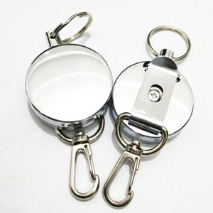 Nuevo Retractable Pull Key Ring ID Badge Lanyard Name Tag Portatarjetas Recoil Reel Belt Clip Metal Housing Metal Covers c674