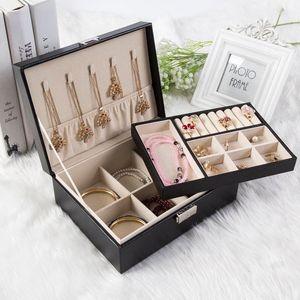 Lock Double Deck Jewelry Box Princess Estilo Europeo Corea Joyería de madera Pendientes Joyería Simple Ear nail Ring Collection Box