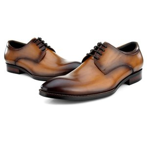 High Quality Genuine Leather Men's Footwear Round Toe Lace-up Man Wedding Party Flats Luxury Formal Dress Male Derby Shoes