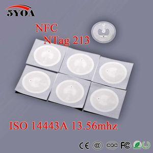 5YOA 50pcs Lot NFC TAG Sticker 13.56MHz ISO14443A NTAG 213 Key Tags llaveros llavero Token Patrol Universal
