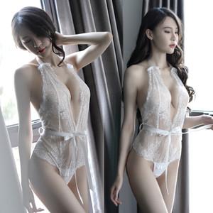 Intérêt coréen Jour Perspective des sous-vêtements Faire semblant Dentelle Sexy Conjoin Vêtements Pyjamas Serrer Ouvrir Laçage Frenulum Camisole Jupe A928